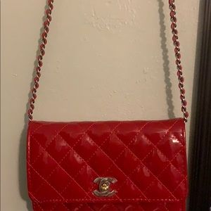 A red Chanel purse